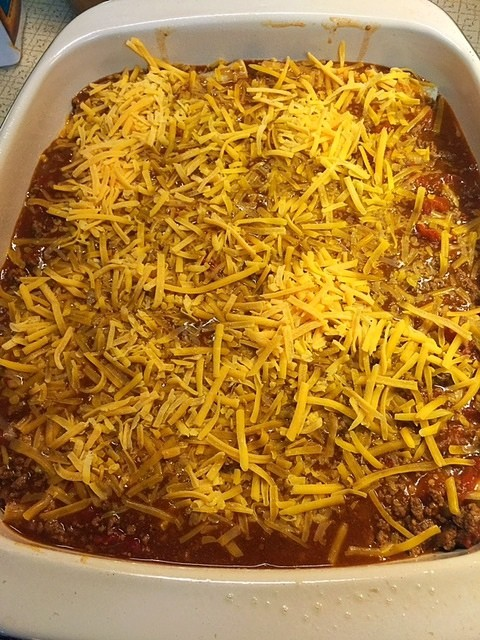 Cheese Enchiladas with Chili Gravy Casserole