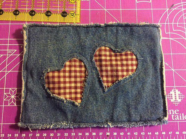 Finished Denim Potholder With Hearts