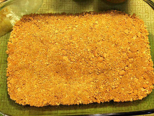 Press Graham Cracker Crumbs into Pan