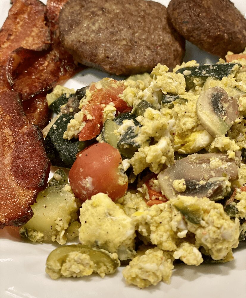 Best Scrambled Eggs with Bacon and Sausage Patties